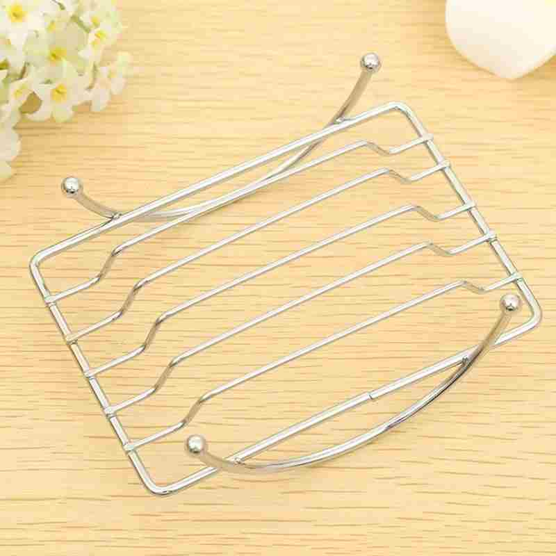 1 Piece Fashion Brief Stainless Steel Bathroom Soap Dishes Box Holder Tray (Color: Silver)-4