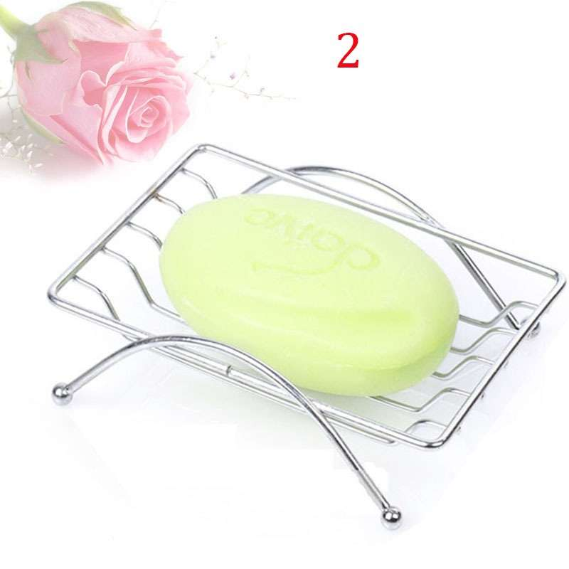 1 Piece Fashion Brief Stainless Steel Bathroom Soap Dishes Box Holder Tray (Color: Silver)-7