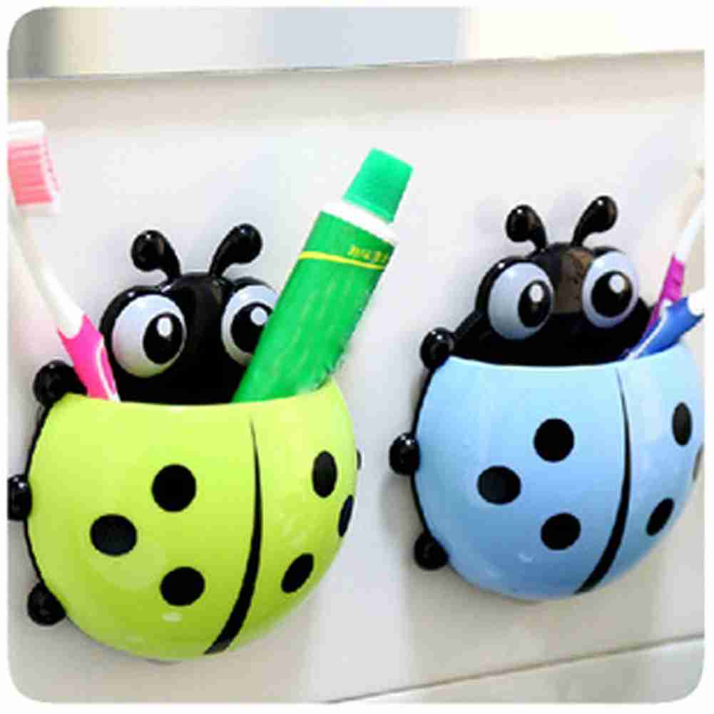 1x New Cute Funny Cartoon Yellow/Red/Blue/Green Ladybug Sucker Suction Hook Tooth Brush Holder