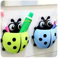 tiWf-1x New Cute Funny Cartoon Yellow/Red/Blue/Green Ladybug Sucker Suction Hook Tooth Brush Holder
