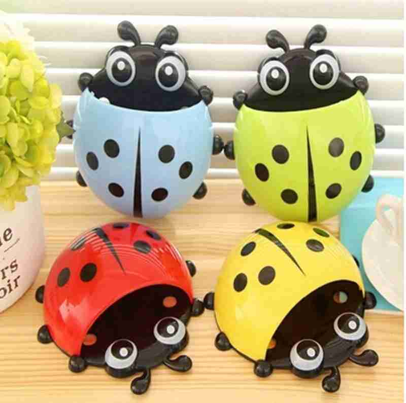 1x New Cute Funny Cartoon Yellow/Red/Blue/Green Ladybug Sucker Suction Hook Tooth Brush Holder-1