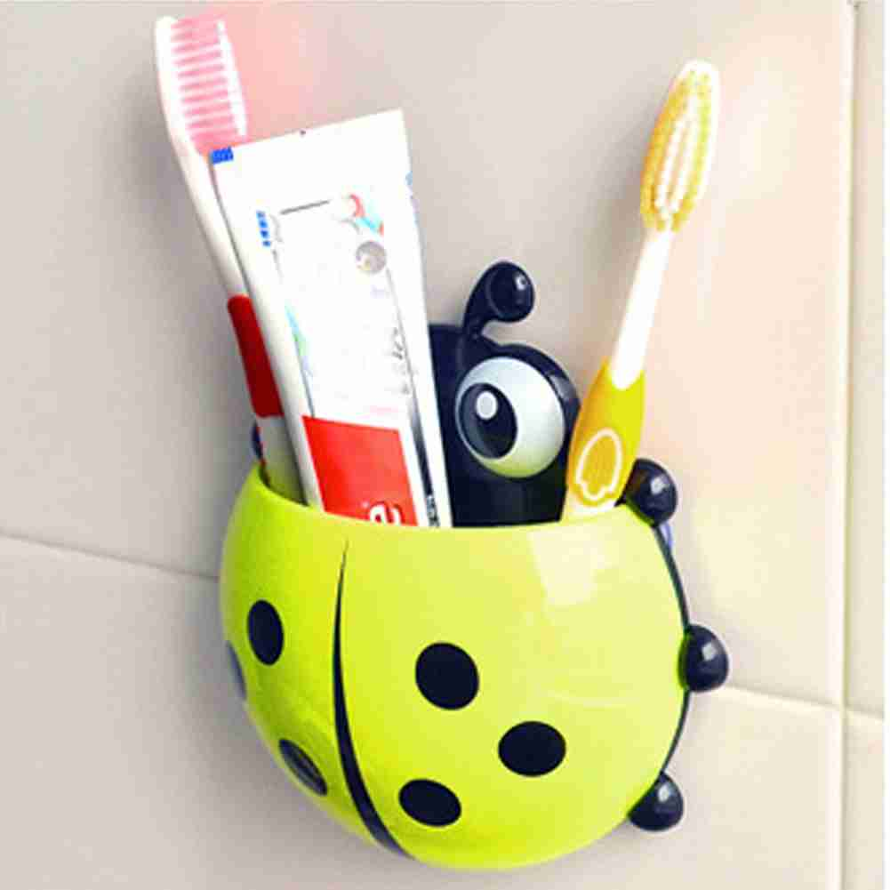 1x New Cute Funny Cartoon Yellow/Red/Blue/Green Ladybug Sucker Suction Hook Tooth Brush Holder-10