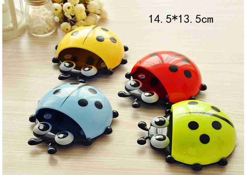 1x New Cute Funny Cartoon Yellow/Red/Blue/Green Ladybug Sucker Suction Hook Tooth Brush Holder-11