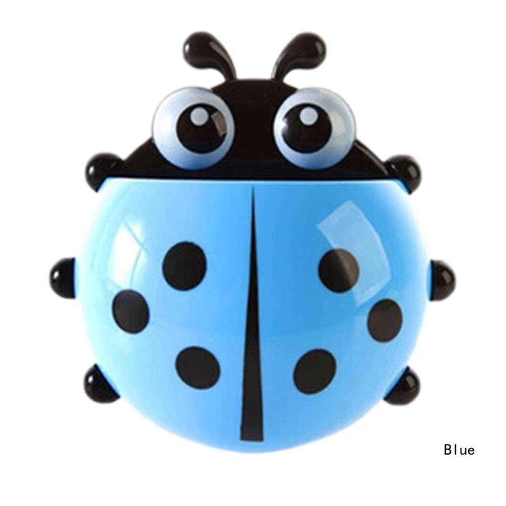 1x New Cute Funny Cartoon Yellow/Red/Blue/Green Ladybug Sucker Suction Hook Tooth Brush Holder-13