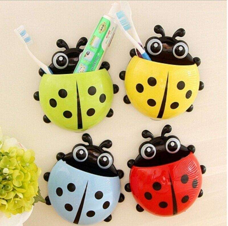 1x New Cute Funny Cartoon Yellow/Red/Blue/Green Ladybug Sucker Suction Hook Tooth Brush Holder-3