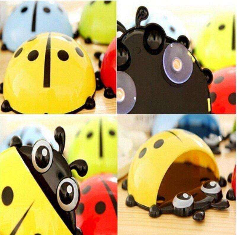 1x New Cute Funny Cartoon Yellow/Red/Blue/Green Ladybug Sucker Suction Hook Tooth Brush Holder-4
