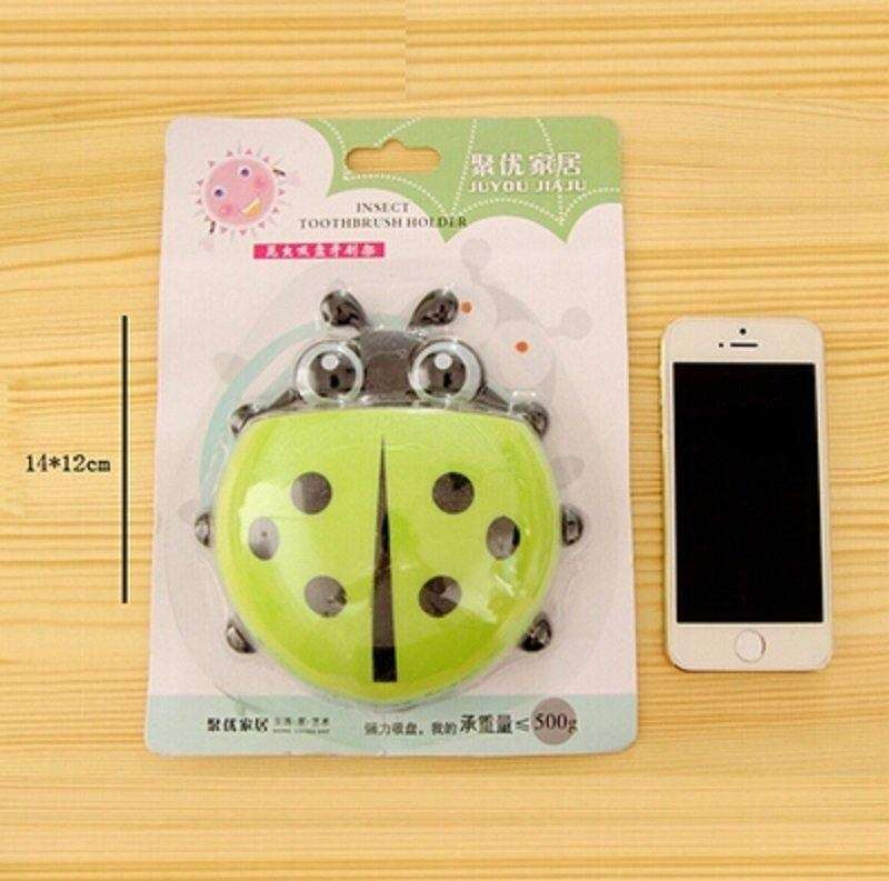 1x New Cute Funny Cartoon Yellow/Red/Blue/Green Ladybug Sucker Suction Hook Tooth Brush Holder-5