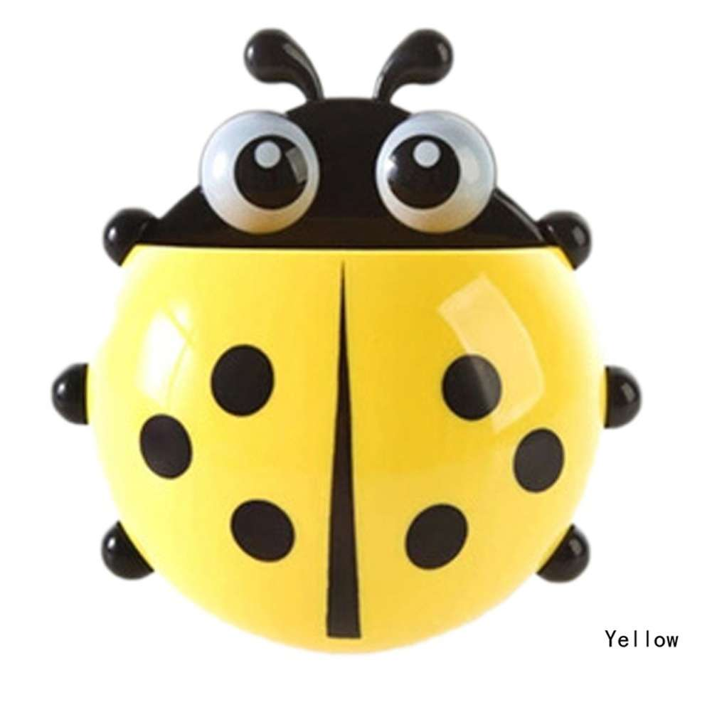 1x New Cute Funny Cartoon Yellow/Red/Blue/Green Ladybug Sucker Suction Hook Tooth Brush Holder-6