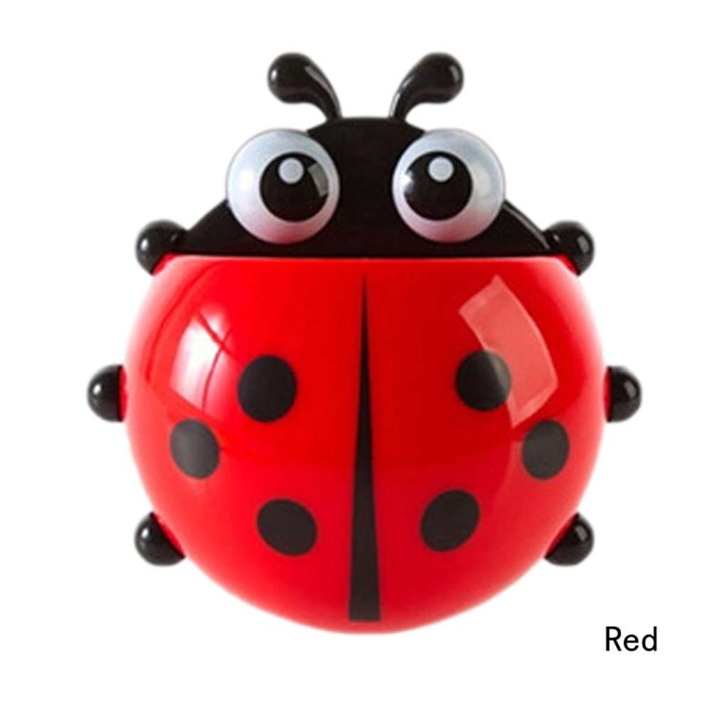 1x New Cute Funny Cartoon Yellow/Red/Blue/Green Ladybug Sucker Suction Hook Tooth Brush Holder-7