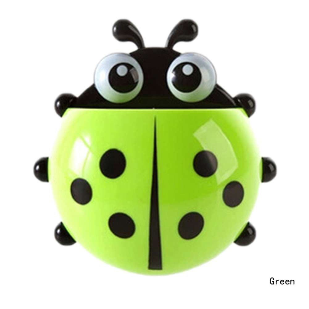 1x New Cute Funny Cartoon Yellow/Red/Blue/Green Ladybug Sucker Suction Hook Tooth Brush Holder-8