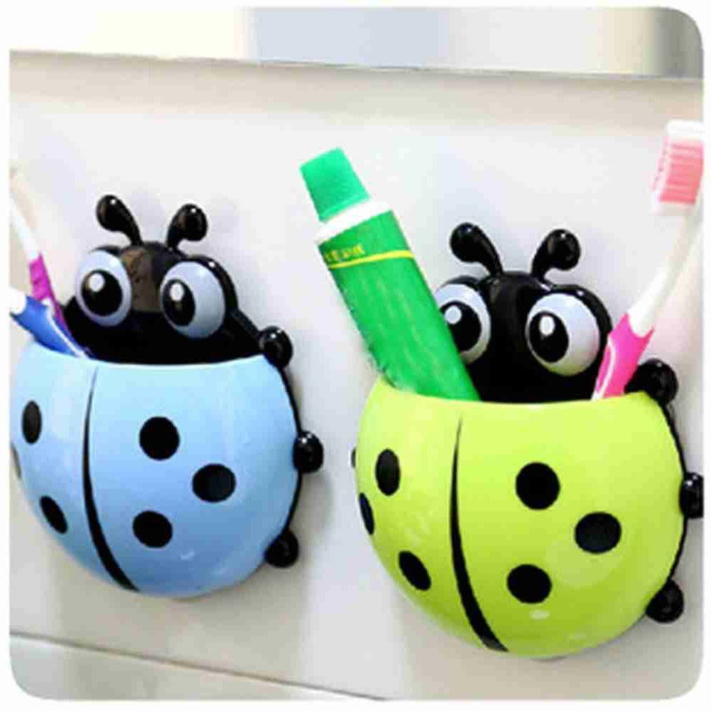 1x New Cute Funny Cartoon Yellow/Red/Blue/Green Ladybug Sucker Suction Hook Tooth Brush Holder-9