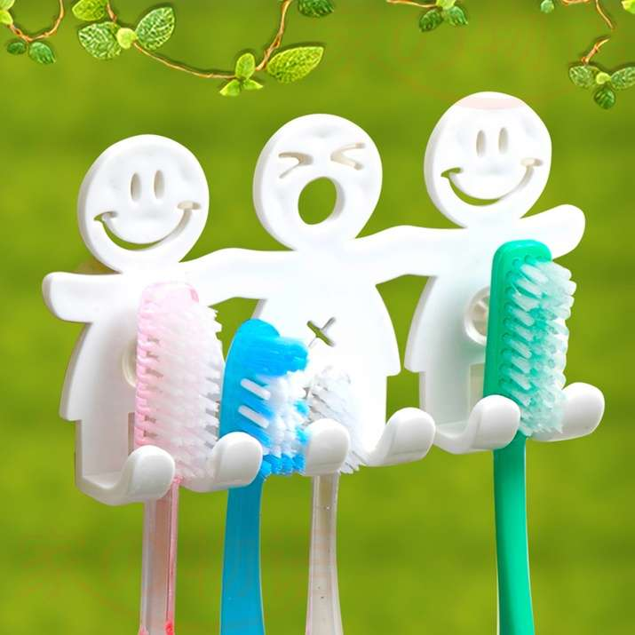 1Pcs Smile Face Bathroom Kitchen Toothbrush Towel Holder Wall Sucker Hook nh7 (Color: White)