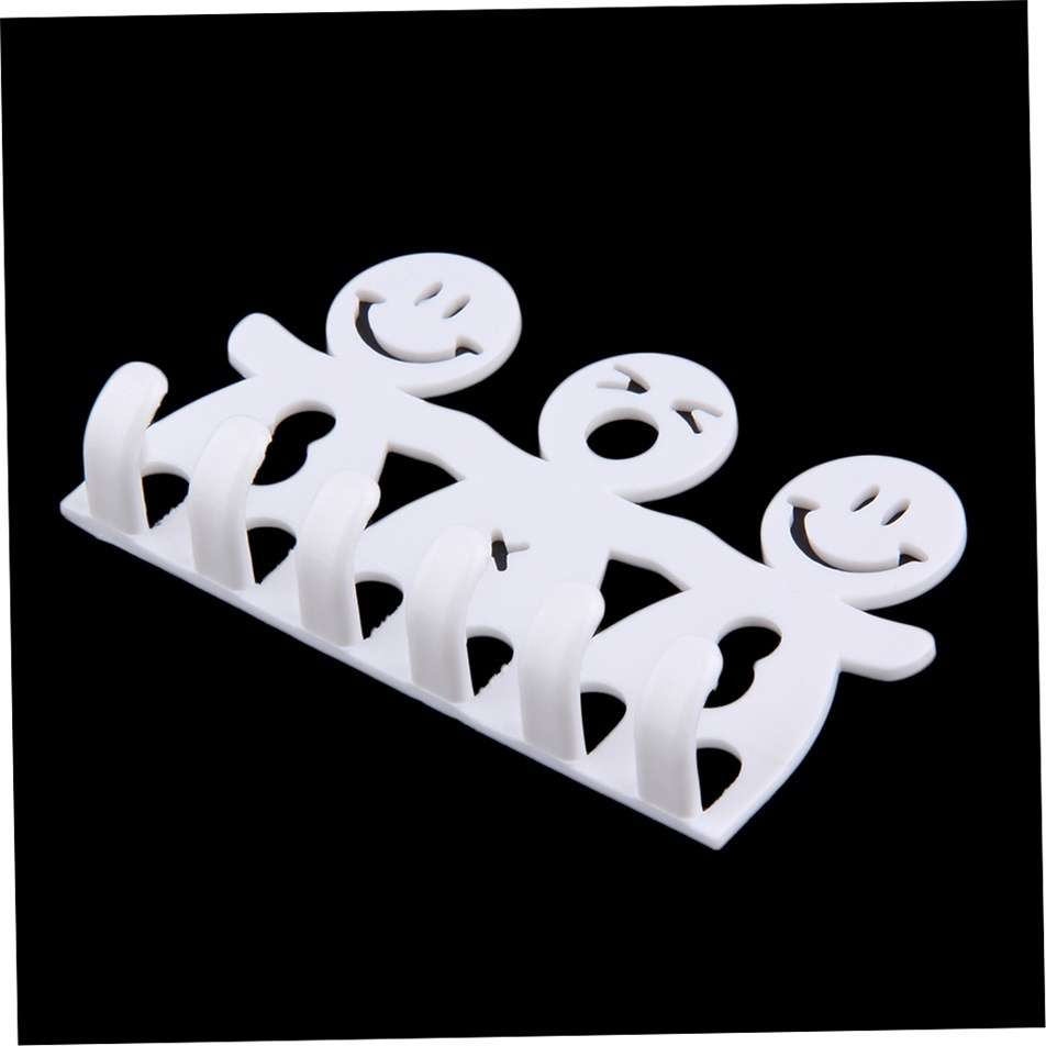 1Pcs Smile Face Bathroom Kitchen Toothbrush Towel Holder Wall Sucker Hook nh7 (Color: White)-1