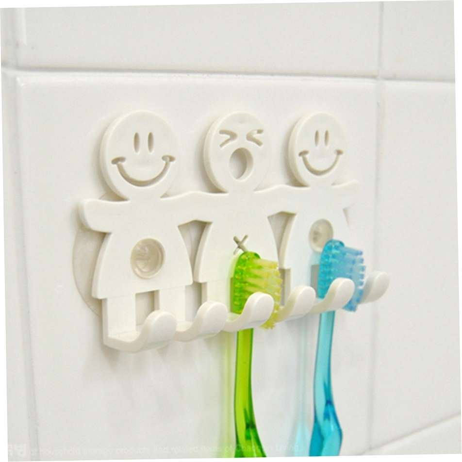 1Pcs Smile Face Bathroom Kitchen Toothbrush Towel Holder Wall Sucker Hook nh7 (Color: White)-5