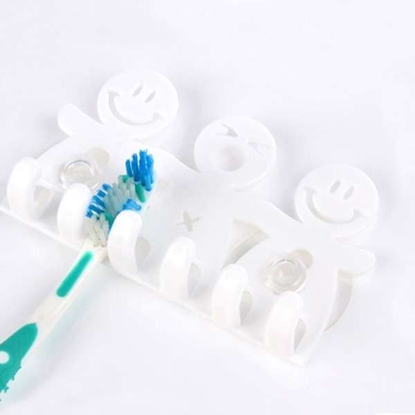 1Pcs Smile Face Bathroom Kitchen Toothbrush Towel Holder Wall Sucker Hook nh7 (Color: White)-7