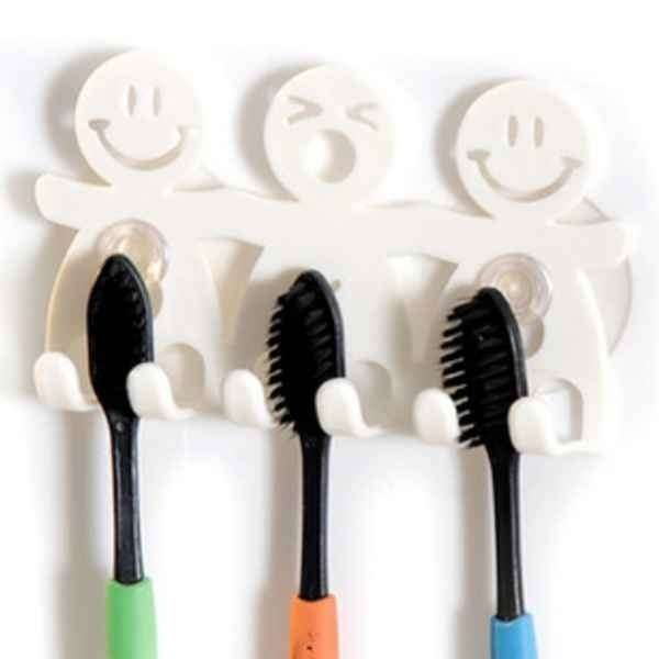 1Pcs Smile Face Bathroom Kitchen Toothbrush Towel Holder Wall Sucker Hook nh7 (Color: White)-8