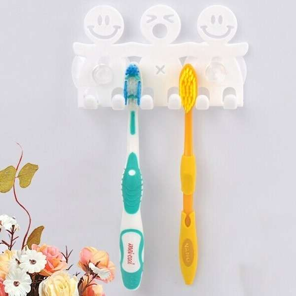 1Pcs Smile Face Bathroom Kitchen Toothbrush Towel Holder Wall Sucker Hook nh7 (Color: White)-9