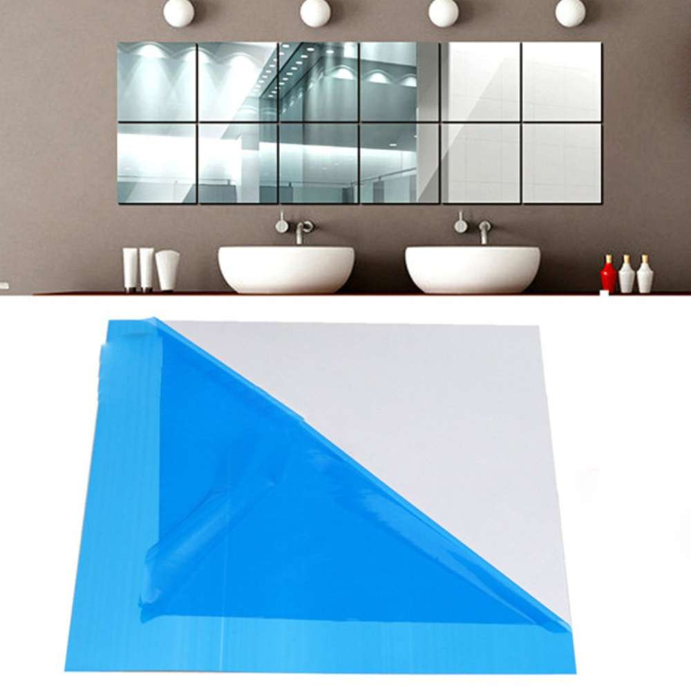 9 Pcs set Home Decoration 3D Wall Sticker Self-adhesive DIY Mirror Square Tiles Room Stickers-10
