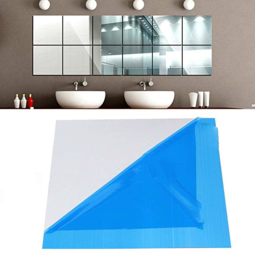 9 Pcs set Home Decoration 3D Wall Sticker Self-adhesive DIY Mirror Square Tiles Room Stickers-3