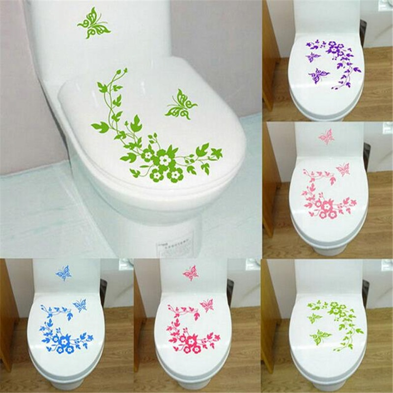 New Butterfly Flower Bathroom Wall Stickers Home Decor Home Decoration Wall Decals for Toilet