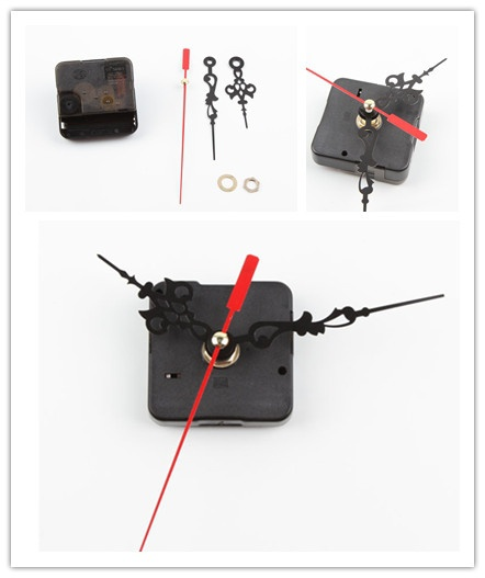 Chic New Style Black Quartz Cross stitch Clock Movement Mechanism Repair DIY Tool Kit Red Hand (Color: Black)