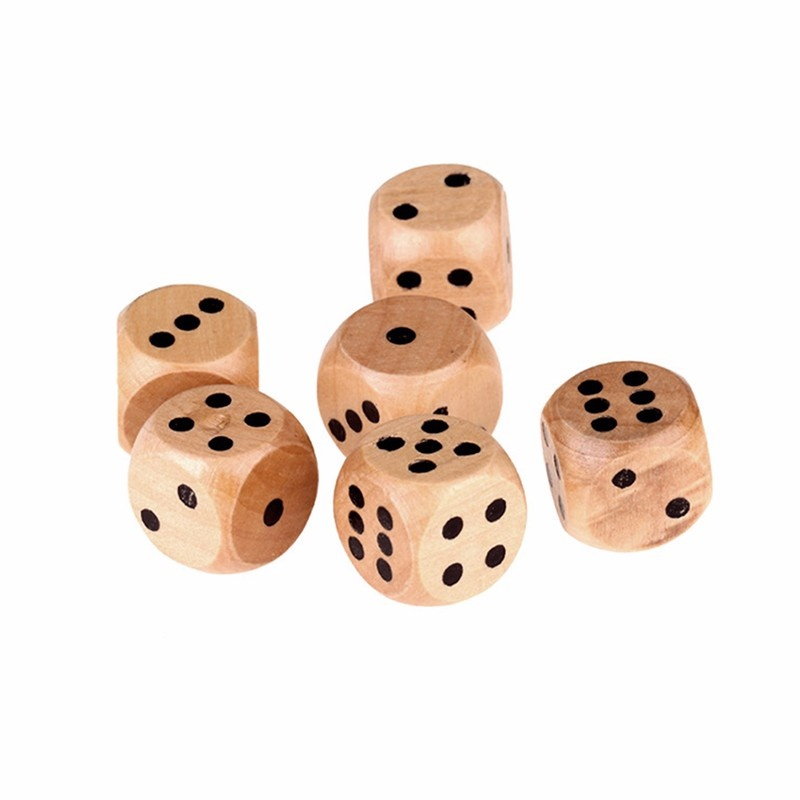 Fun 16mm Lot of 6 Wooden Dice Board Games Bar Party Toy