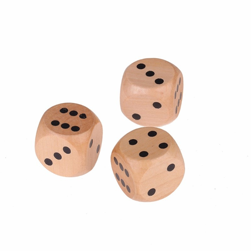 Fun 16mm Lot of 6 Wooden Dice Board Games Bar Party Toy-1