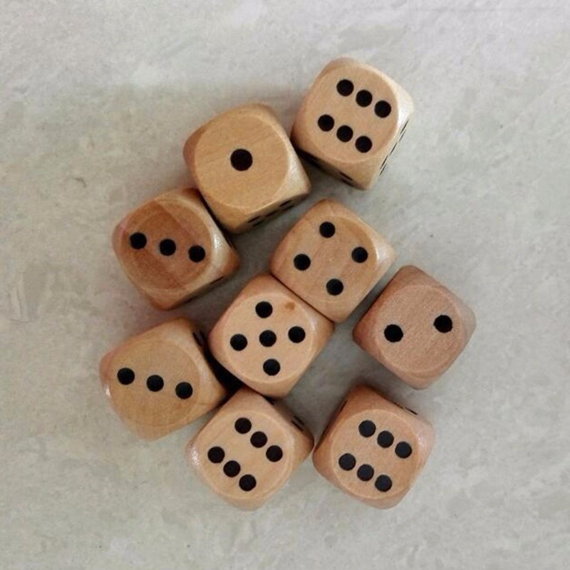 Fun 16mm Lot of 6 Wooden Dice Board Games Bar Party Toy-2