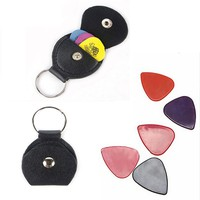 umVT-Handmade Musical Guitar Pick Holder Guitar Pick Bag Case Leather Music Instrument Parts Accessories