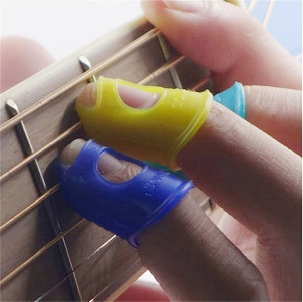 4PCS Same Color and Size High Quality Silicone Celluloid Guitar Thumb Picks Finger Picks