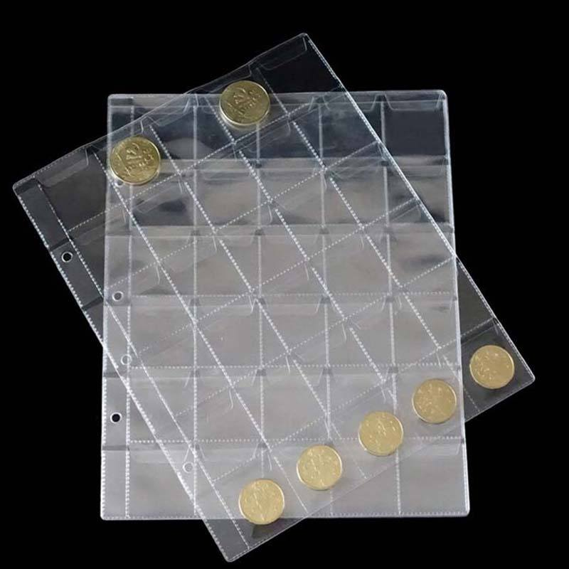 30 Classic Coin Collection Storage Album Pages Folder Clear Pockets