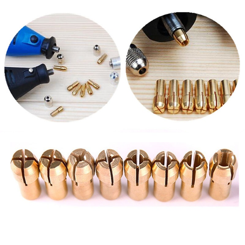 8pcs Brass Collet Include 1mm/1.6mm/2.3mm/3.2mm Rotary Tool Fit Dremel Drill