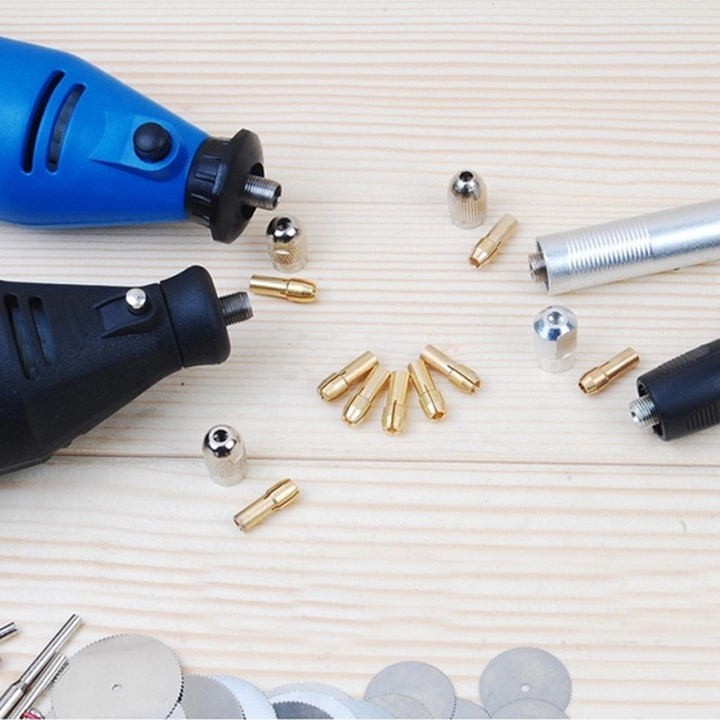 8pcs Brass Collet Include 1mm/1.6mm/2.3mm/3.2mm Rotary Tool Fit Dremel Drill-1
