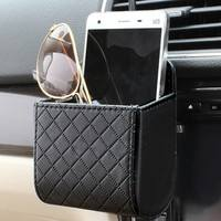 1PCO-Universal Car Mobile Phone Bag PU Leather Car Auto Outlet Air Vent Trash Case Mobile Phone Holder