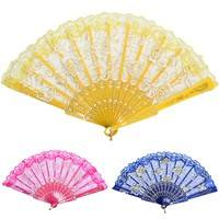 C9Qs-Chinese Style Dance Party Wedding Lace Folding Hand Held Flower Vintage Fan WINDY
