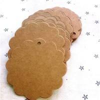 D7Yz-50 Pcs Flower Round Kraft Paper Hang Tags Wedding Party Favor Label Gift Cards