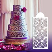 DDcd-Damask Lace Border Birthday Cake Side Cupcake Stencil Sugarcraft Decoration Baking Tool