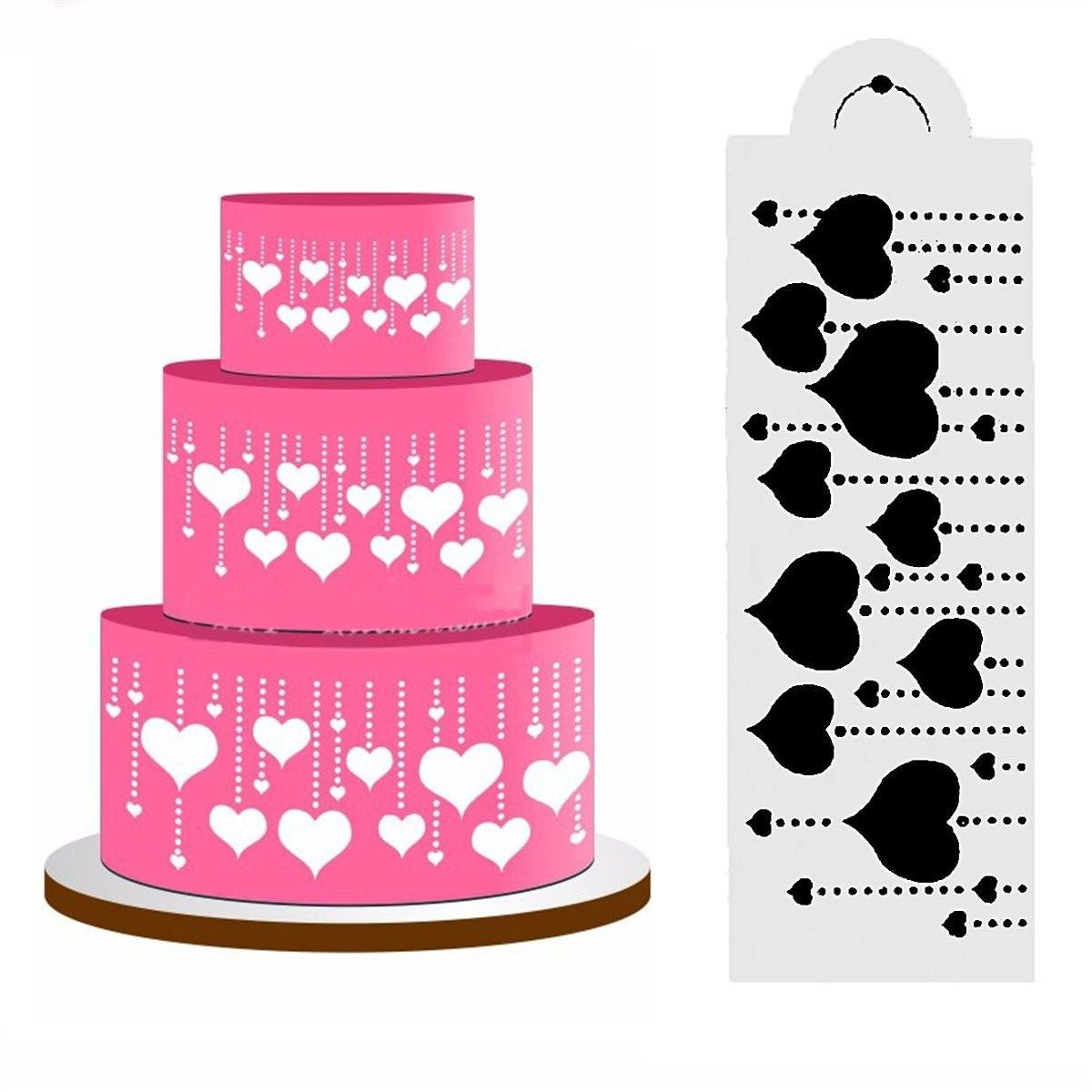Heart Side Cake Stencil Fondant Mold Cake Decorating Tools DIY Craft Cookie Cake Stencils Baking Decor
