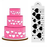 DI0N-Heart Side Cake Stencil Fondant Mold Cake Decorating Tools DIY Craft Cookie Cake Stencils Baking Decor