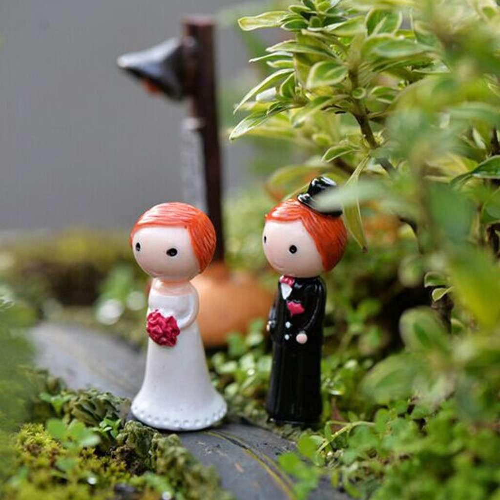 1Pair Wedding Lover Miniature Dollhouse Bonsai Fairy Garden Landscape Decor-6