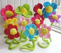 DOzn-Cute Colorful Smile Sunflower Plush Curtain Clasps Tie Holders Home Decor