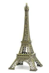 DPeK-Bronze Tone Paris Eiffel Tower Figurine Statue Vintage Alloy Model Decor
