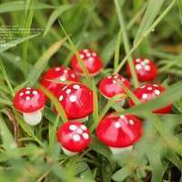 DQfM-10pcs Red Miniature Mushroom Dollhouse Bonsai Fairy Garden Ornaments
