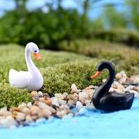 Dfpj-Set Cute White/Black Mini Swan Garden Ornament Miniature Figurine Plant Pot Fairy Garden Decor