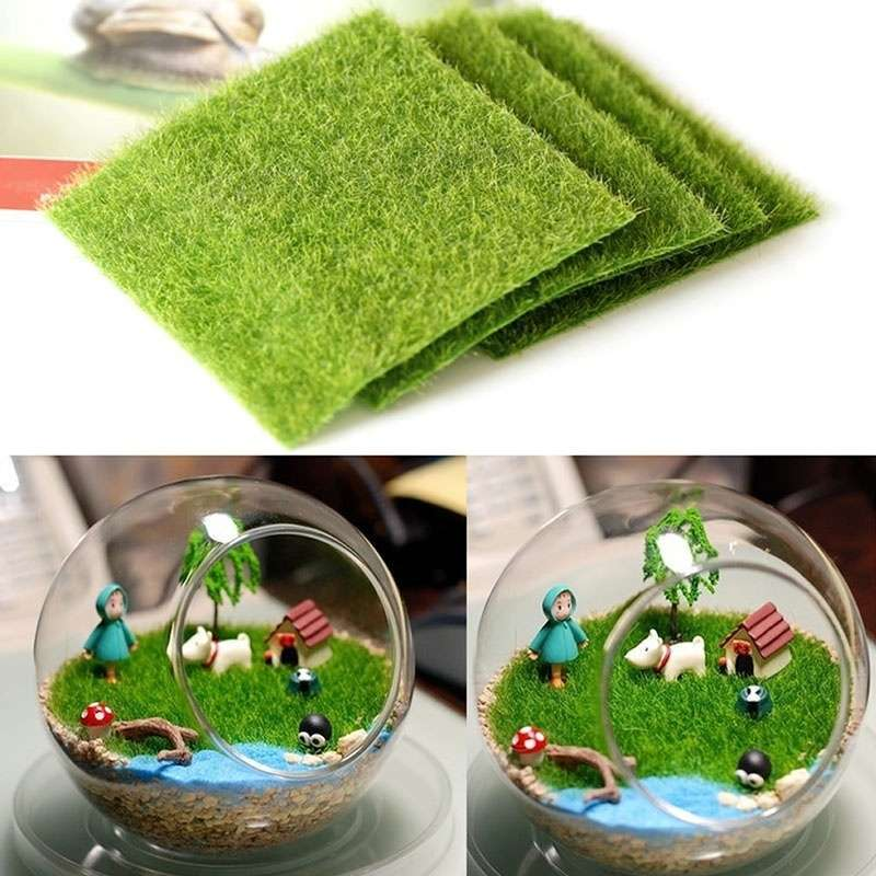 Artificial Garden Grass Lawn Moss Miniature Craft Pot Fairy Dollhouse Decor DIY