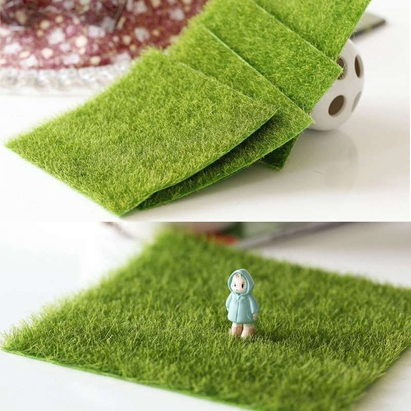 Artificial Garden Grass Lawn Moss Miniature Craft Pot Fairy Dollhouse Decor DIY-1