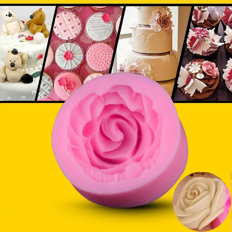 Popular Mini Rose Shapes Chocolate Mould Cake Pastry Candy Molds Baking Tools DIY