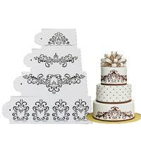 DuGg-4PCS Wedding Kitchen Cookie Baking Tool Fondant Cake Border Stencil Damask Lace Flower Mould