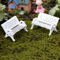 DuKC-1pcs Garden Ornament Miniature Park Seat Bench Craft Fairy Dollhouse Decor Fashion Online