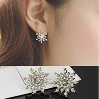 F3Ds-Fashion Crystal Rhinestone Snowflake Star Ear Stud Earring Wedding Bridal Gift Jewelry
